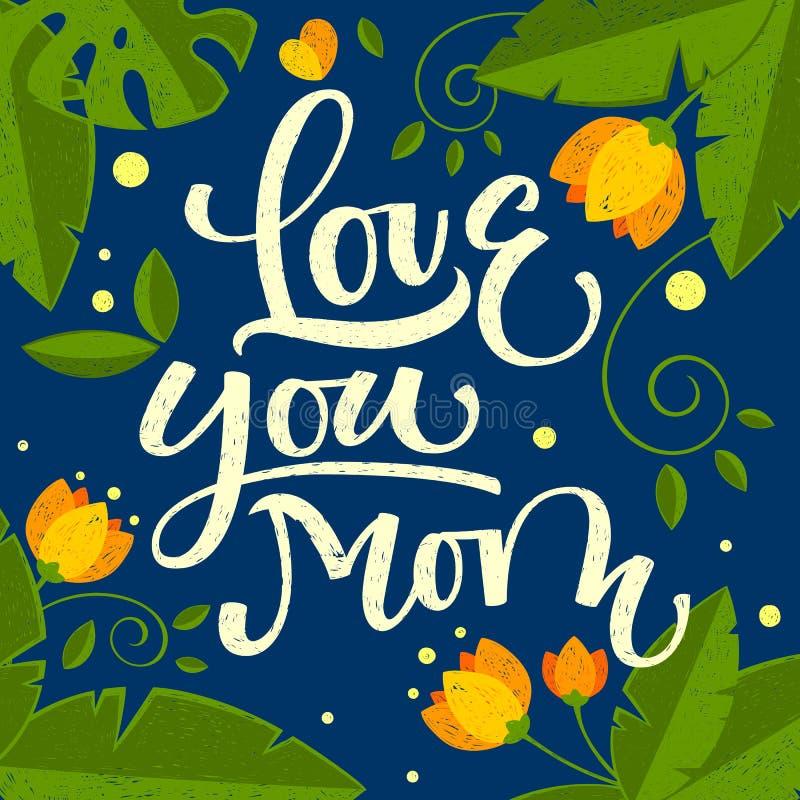 Liefde u mammahand getrokken kalligrafisch kleurrijk ontwerp royalty-vrije illustratie