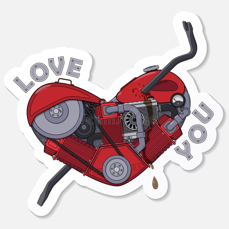 Liefde u Sticker voor boodschapper Motorhart dat met een koevoet wordt doordrongen Vector royalty-vrije illustratie