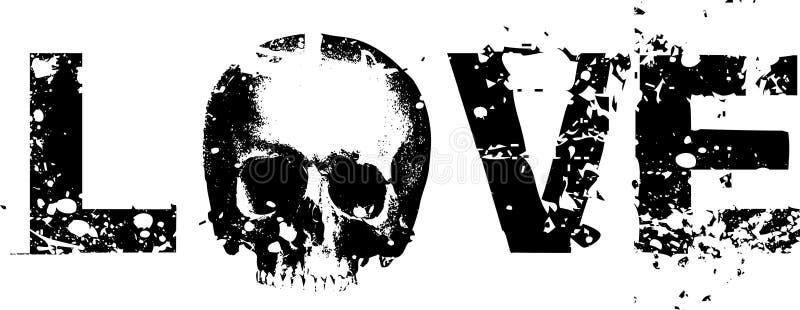 LIEFDE van de Illustratie van de schedel de Vector stock illustratie