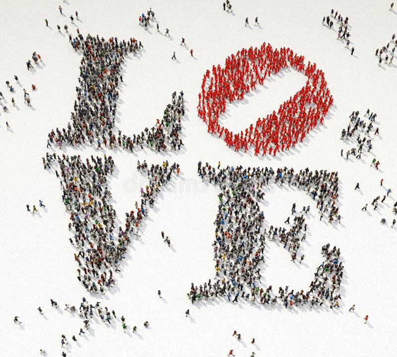 Liefde van Menigte wordt gemaakt die vector illustratie