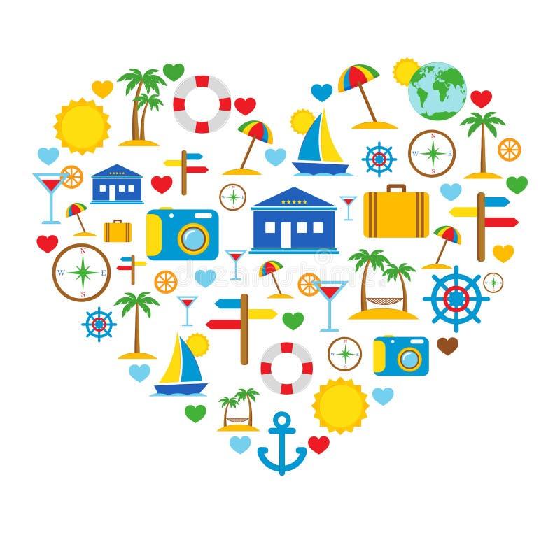 Liefde van reis. Reispictogrammen. vector illustratie