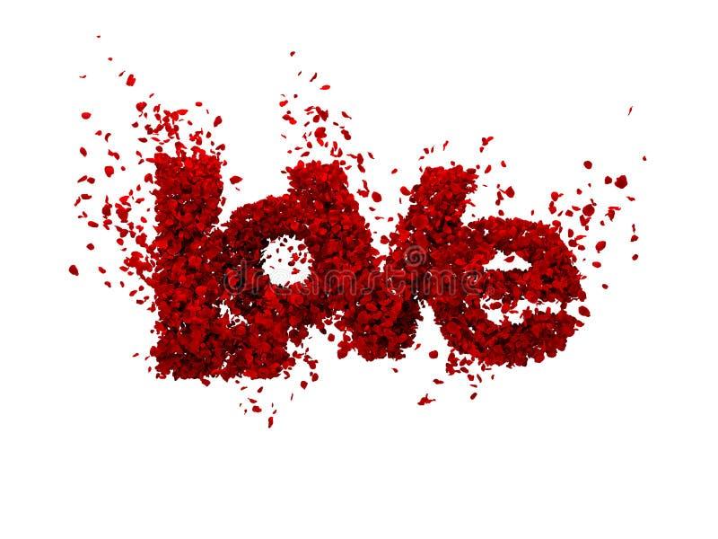 Liefde van rozen (die in wit worden geïsoleerdg) royalty-vrije illustratie