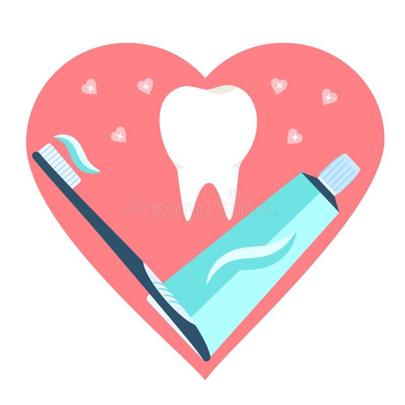 Liefde van tandpasta, tandenborstel en tand Het vlakke tandsymbool van borsteltanden vector illustratie
