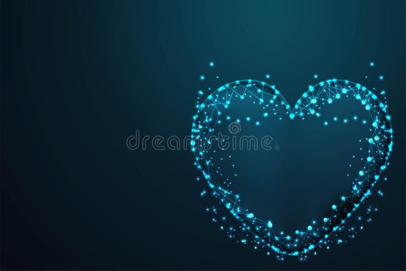 liefde, Vectornetwerkgebieden van vliegend puin Dun lijnconcept Abstract het kadernetwerk van de draad laag poly, Veelhoekig draa stock illustratie