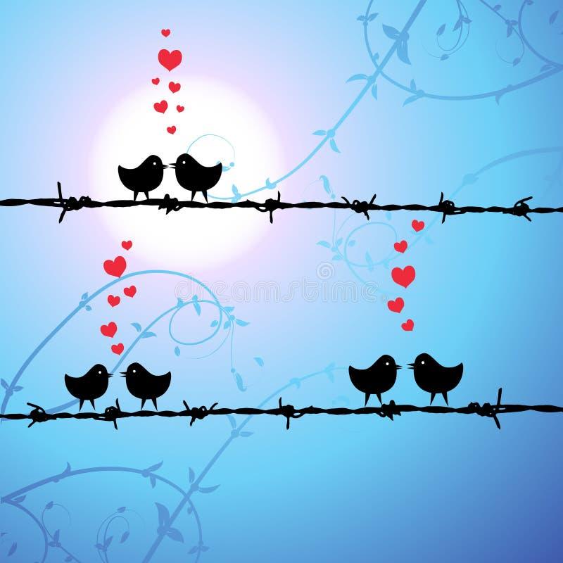 Liefde, vogels die op tak kust vector illustratie