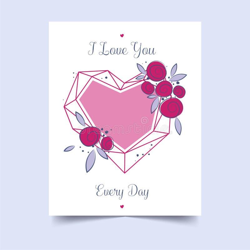 Liefde voor decoratief ontwerp De gelukkige Van letters voorziende Kaart van de Valentijnskaartendag Feestelijke gebeurtenisbanne royalty-vrije stock fotografie