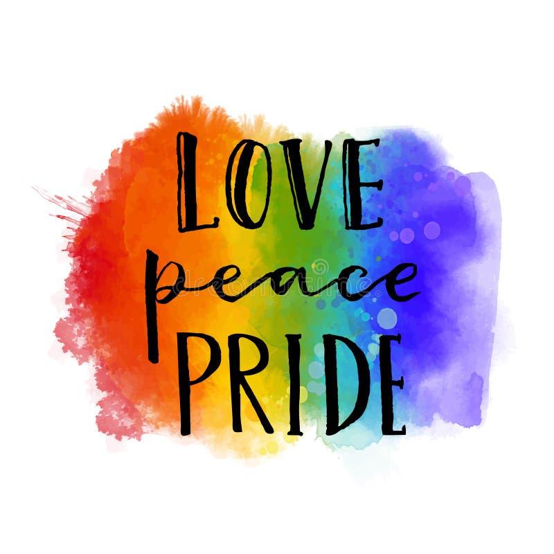 Liefde, vrede, trots Vrolijke paradeslogan met de hand geschreven op de textuur van de regenboogwaterverf stock illustratie