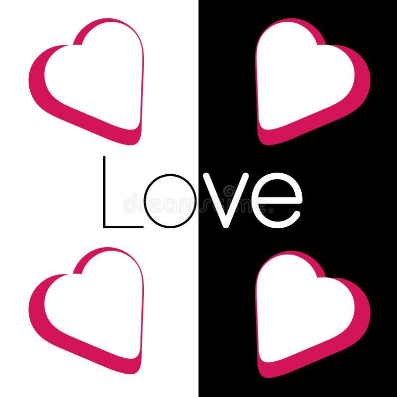 Liefde in witte zwarte stock illustratie