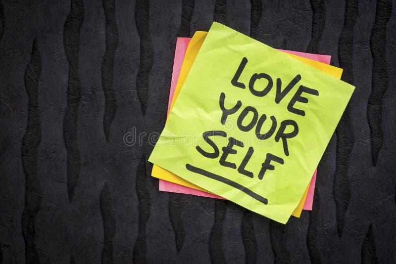 Liefde zelf herinnering of raad stock foto