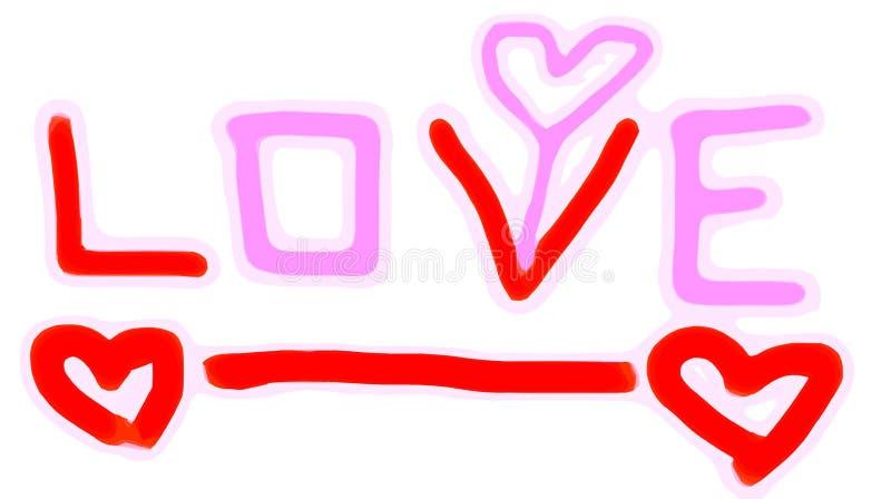 LIEFDEalfabet met roze en rood hart stock illustratie