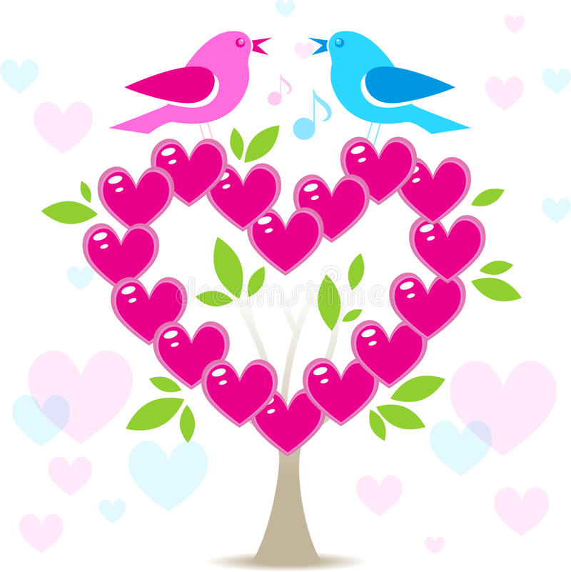 Liefdeboom met twee vogels stock illustratie