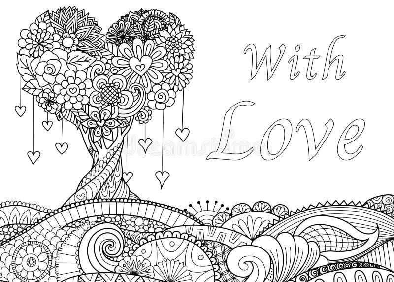 Liefdeboom op bloemen golvende grond royalty-vrije illustratie