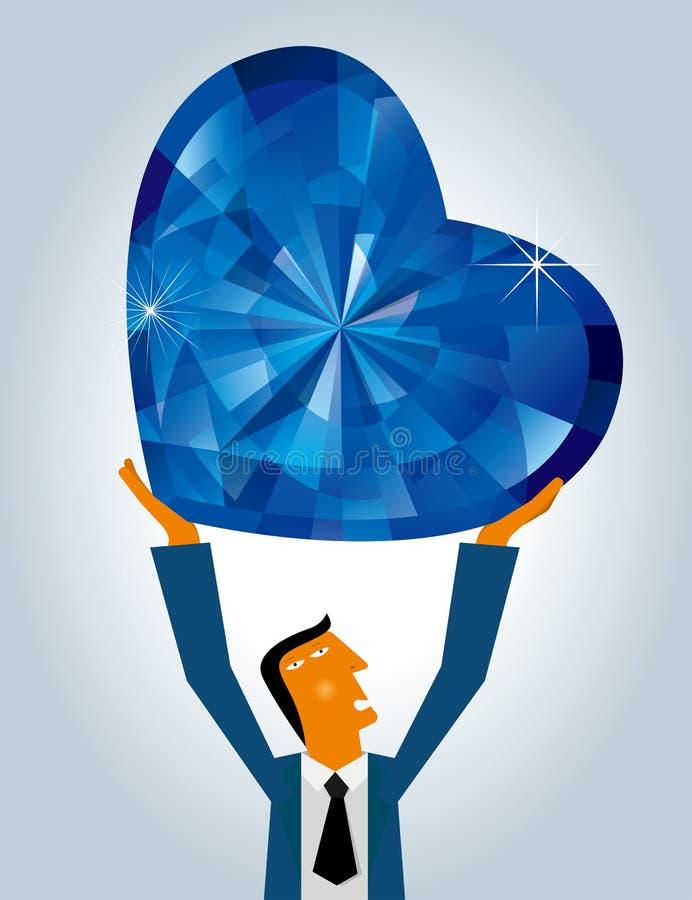 Liefdeconceptontwerp, zakenman opgeheven hart gevormde diamant royalty-vrije illustratie