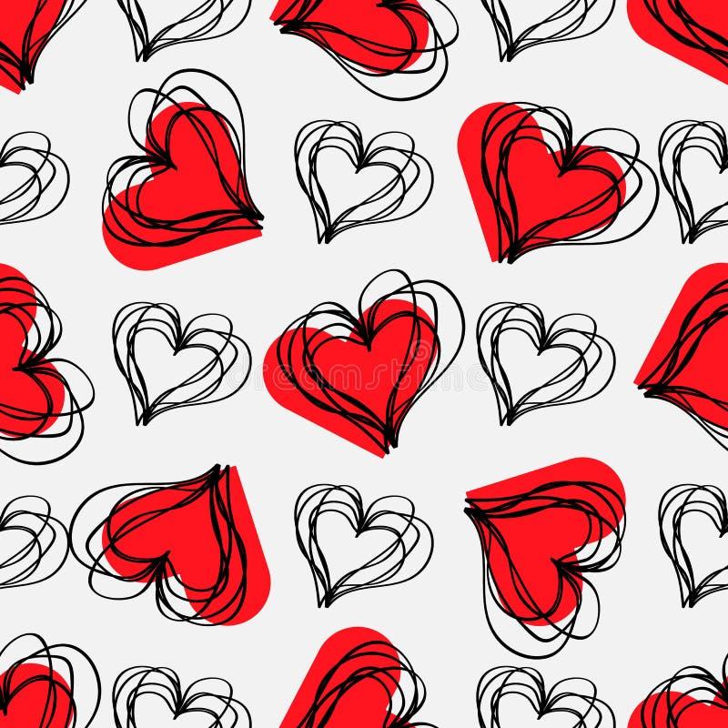 Liefdedruk Abstract naadloos patroon met uitgebroede harten op een grijze achtergrond stock illustratie