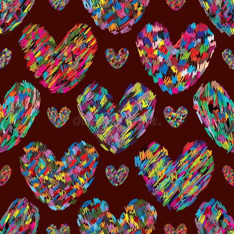 Liefdehand die kleurrijk eco naadloos patroon trekken royalty-vrije illustratie