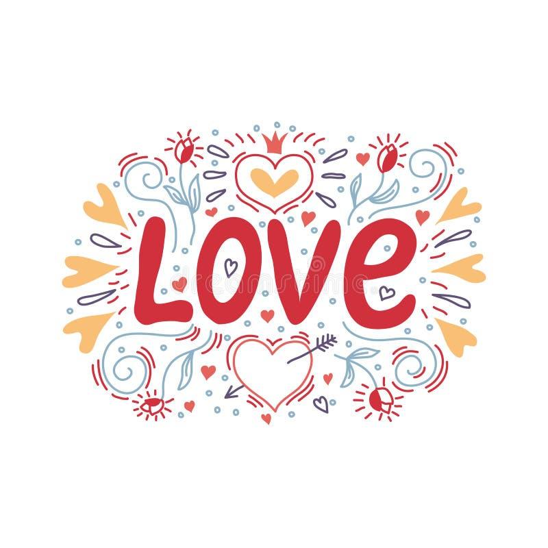 Liefdehand het van letters voorzien met een decor van harten en bloemen Vector illustratie stock illustratie