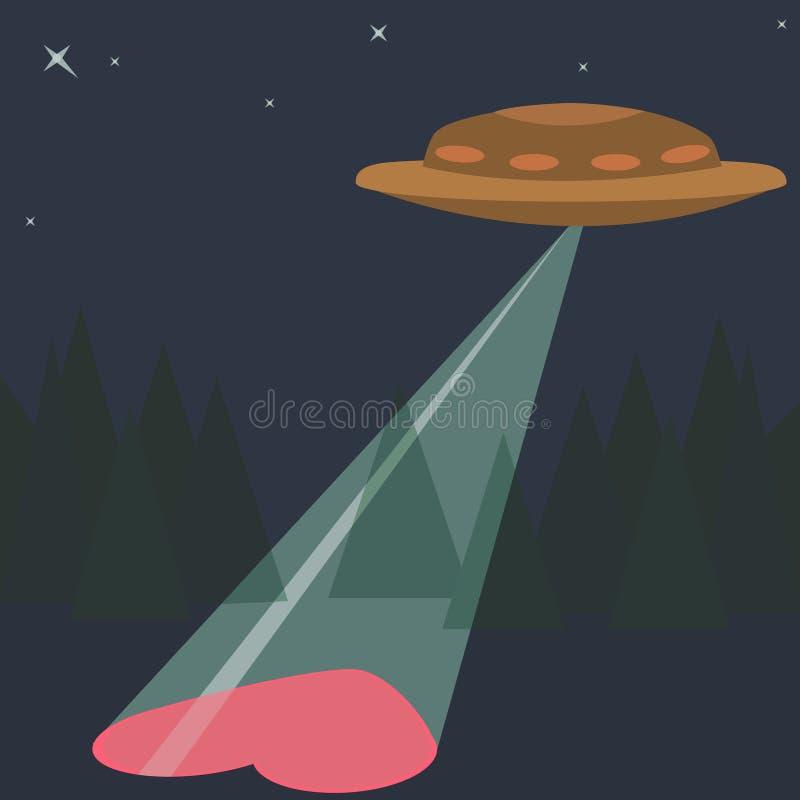 Liefdehart met de Groet van de de Valentijnskaartendag van UFOvreemdelingen royalty-vrije illustratie