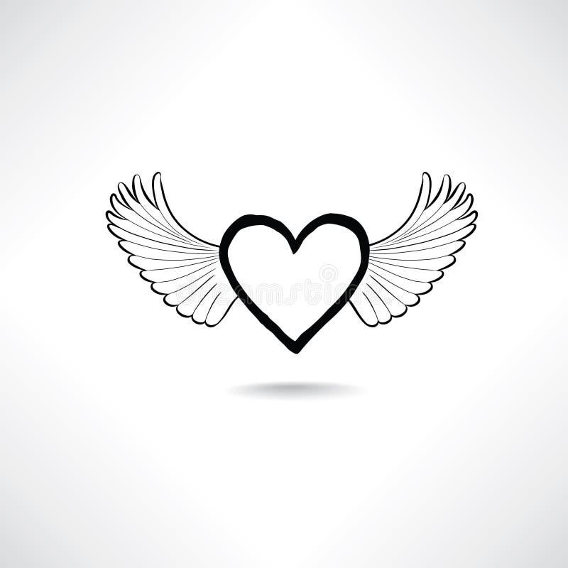 Liefdehart met vleugels Valentine-dagpictogram Verloren liefdeteken royalty-vrije illustratie