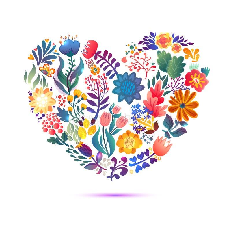 Liefdekaart met bloemenboeket De Dag vectorillustratie van Valentine met hartvorm stock illustratie