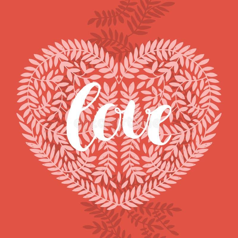 Liefdekaart met het handdrawn van letters voorzien royalty-vrije illustratie