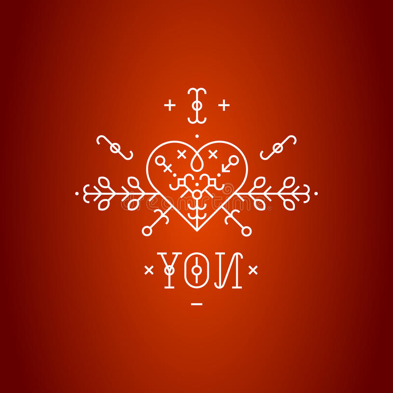 Liefdekaart met lijn romantische elementen royalty-vrije illustratie