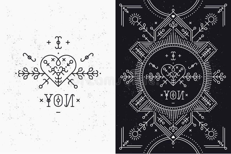 Liefdekaart met lijn romantische en abstracte elementen royalty-vrije illustratie