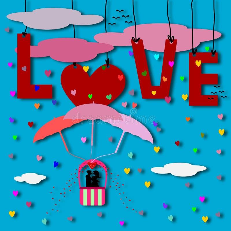 Liefdekaart, Paarliefde op luchtvaart vector illustratie