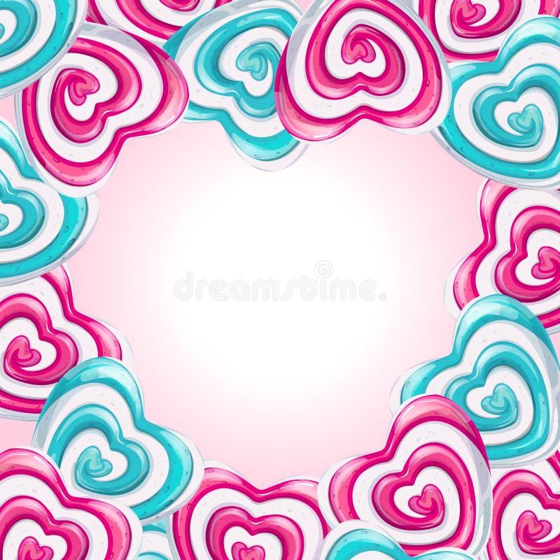 Liefdekader die met lollyharten een hart vormen stock illustratie