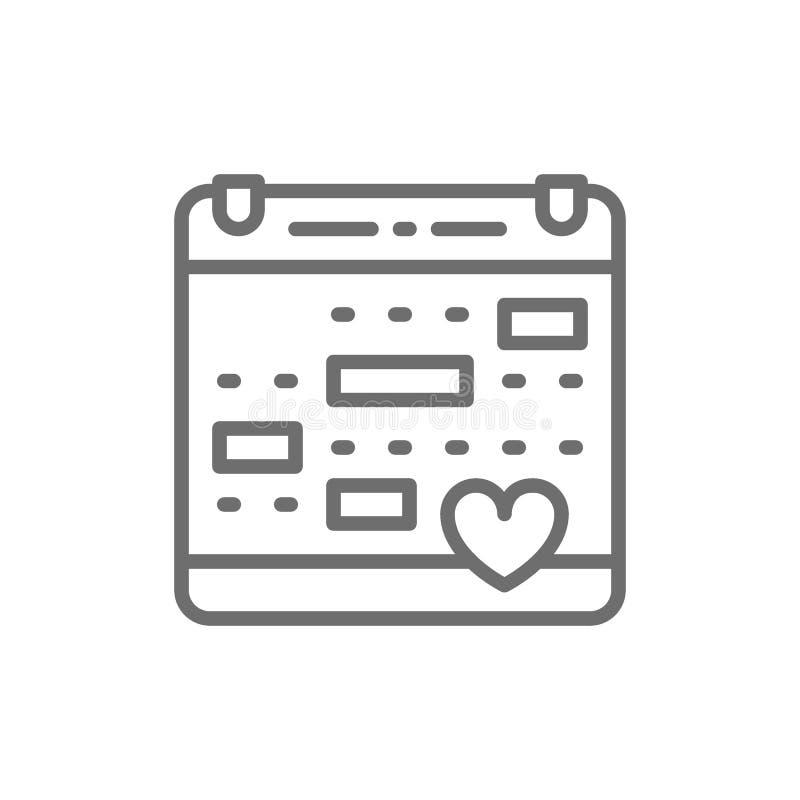 Liefdekalender, huwelijksdatum, de lijnpictogram van de valentijnskaartendag stock illustratie
