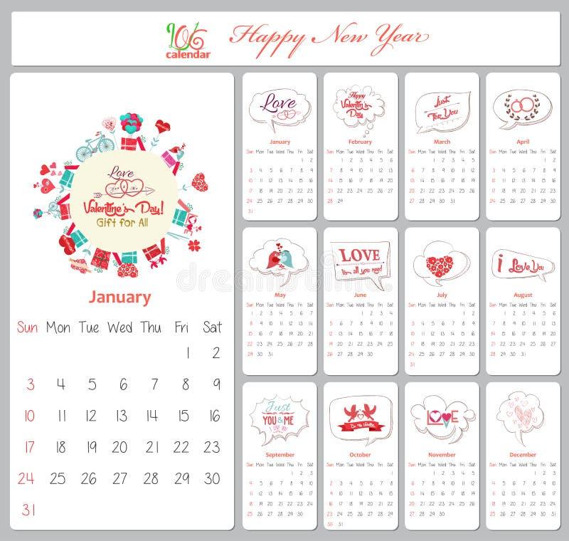 Liefdekalender voor 2016 met groetbel royalty-vrije illustratie