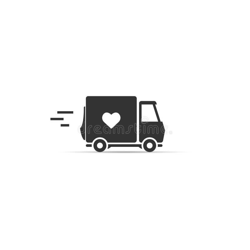 Liefdelevering vrachtwagen met een hartpictogram Vector symbool stock illustratie