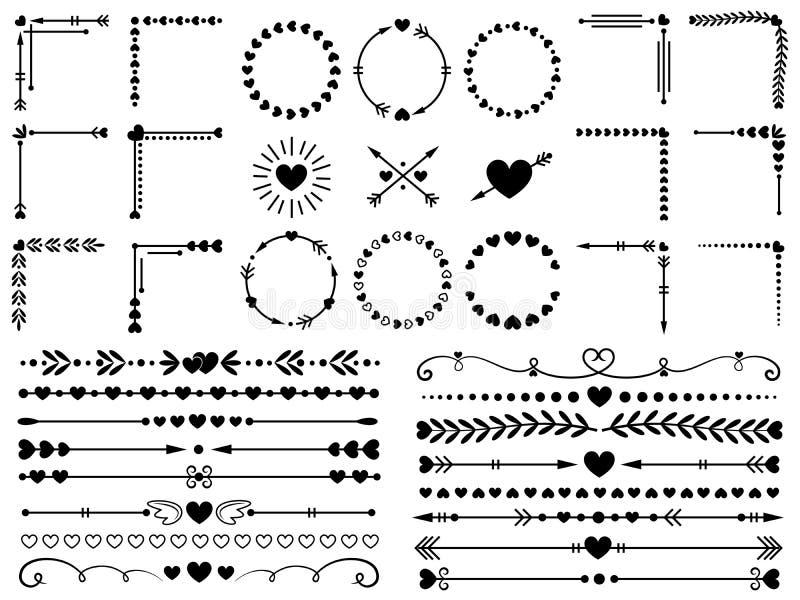 Liefdeornamenten Ontwerpt de sier, decoratieve het hartgrens van huwelijksharten en inlove de vector geplaatste elementen van het royalty-vrije illustratie