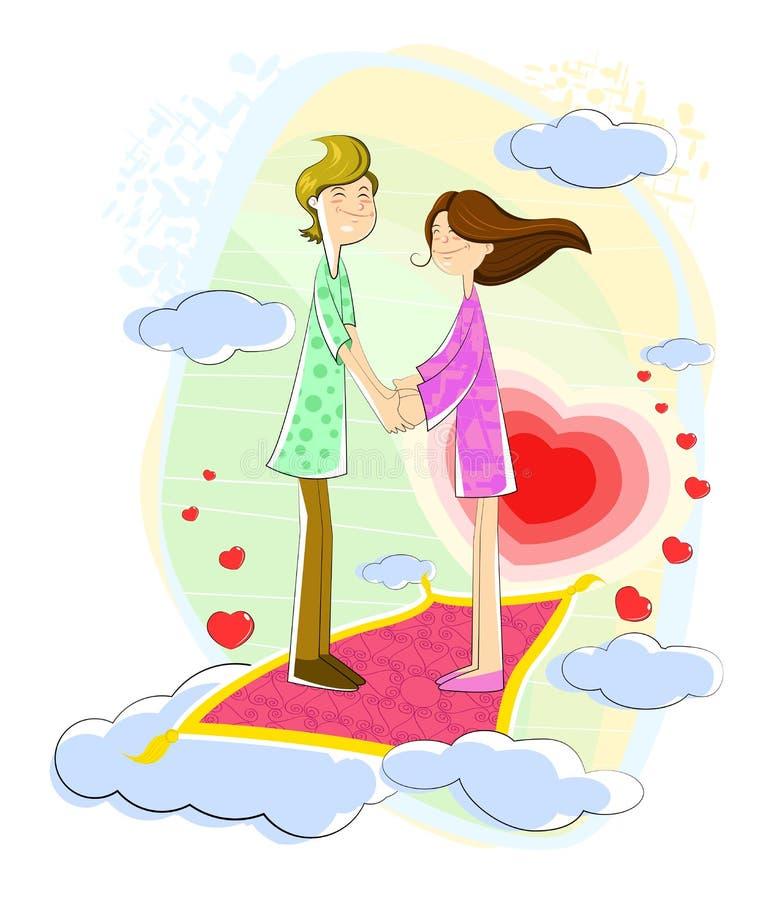 Liefdepaar dat in cloudscape drijft royalty-vrije illustratie