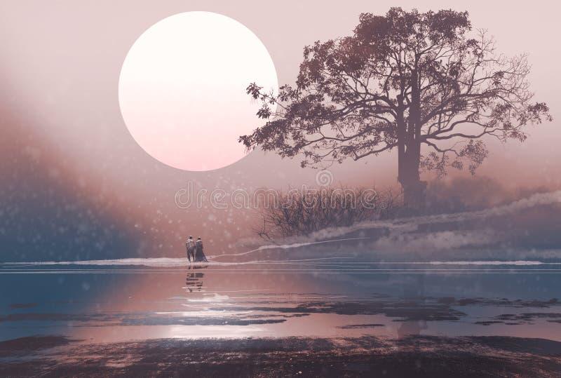 Liefdepaar in de winterlandschap met reusachtige hierboven maan stock illustratie