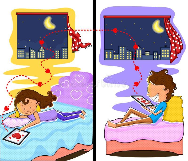 Liefdepaar die in de nacht van Valentine babbelen royalty-vrije illustratie
