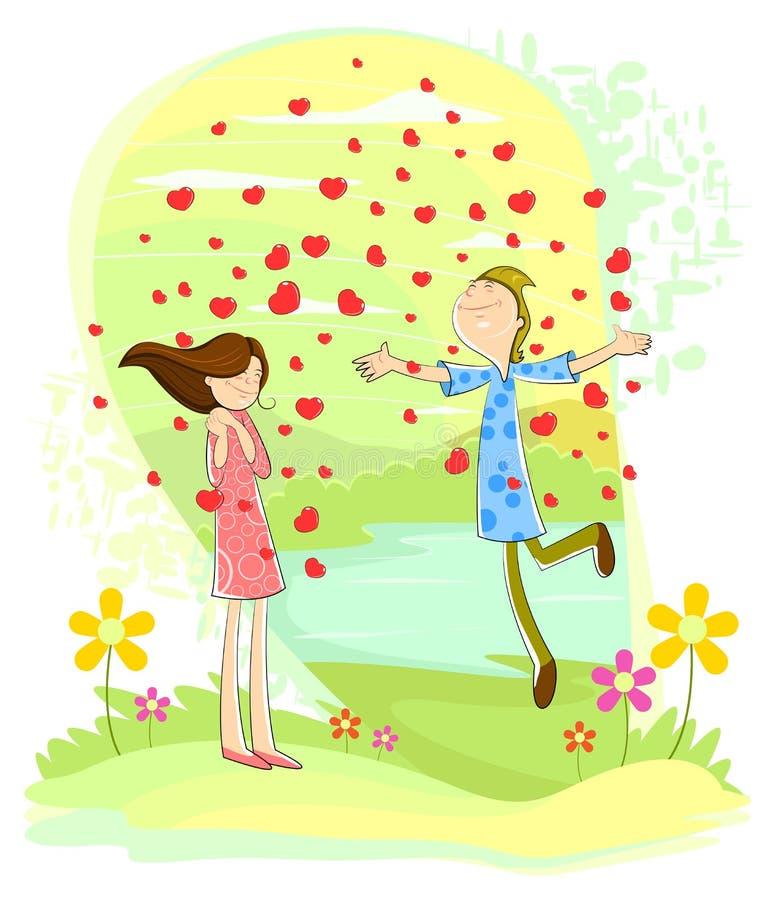 Liefdepaar met hart het overgieten royalty-vrije illustratie