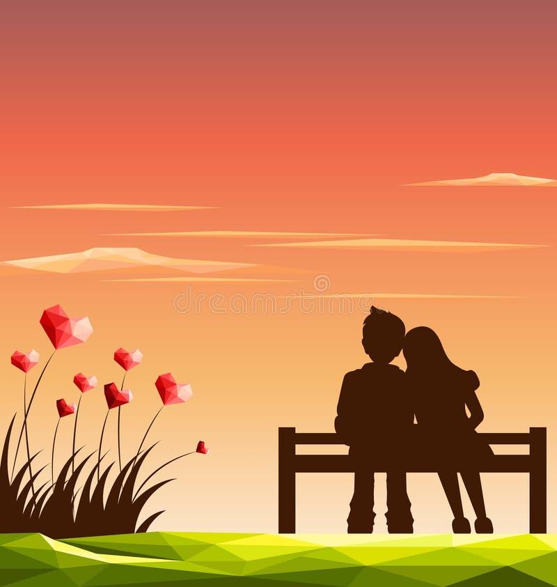 Liefdepaar op bank met veelhoekig die hart van wildflowers wordt gevormd geïsoleerdn op witte, selectieve nadruk royalty-vrije illustratie