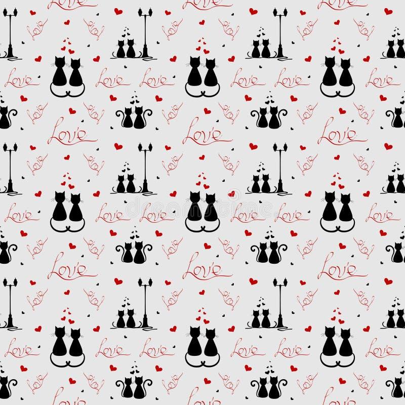 Liefdepatroon Houdende van katten Vectorillustranion royalty-vrije stock afbeeldingen