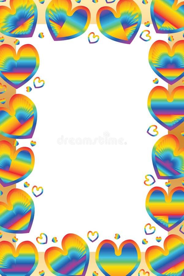 Liefderegenboog rond kader royalty-vrije illustratie
