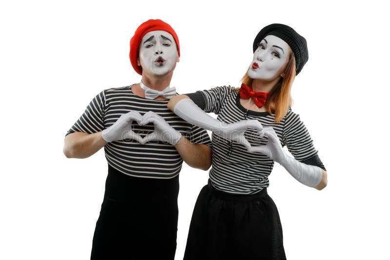 Liefdescène van pantomimeactoren royalty-vrije stock foto