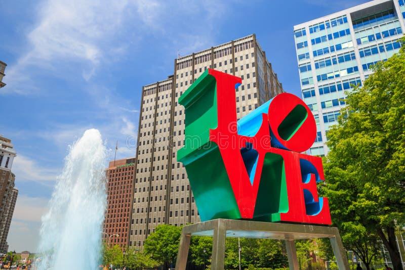 Liefdestandbeeld in Philadelphia stock foto