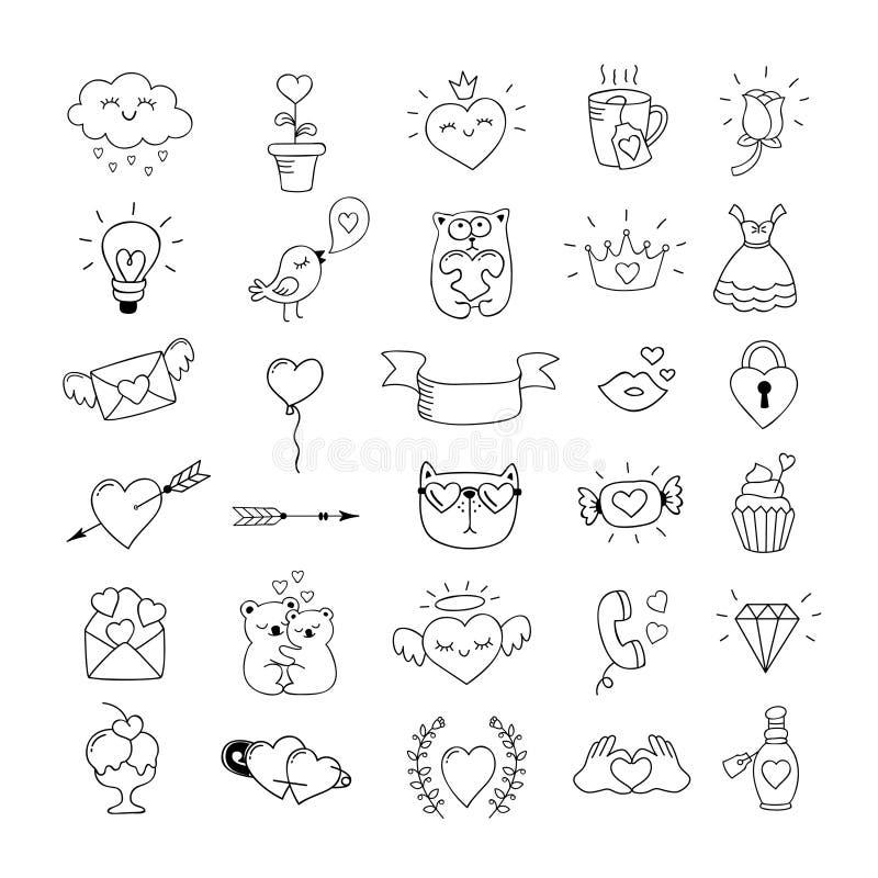 Liefdesymbolen en de hand getrokken pictogrammen van de Valentijnskaartendag Liefdekrabbels royalty-vrije illustratie