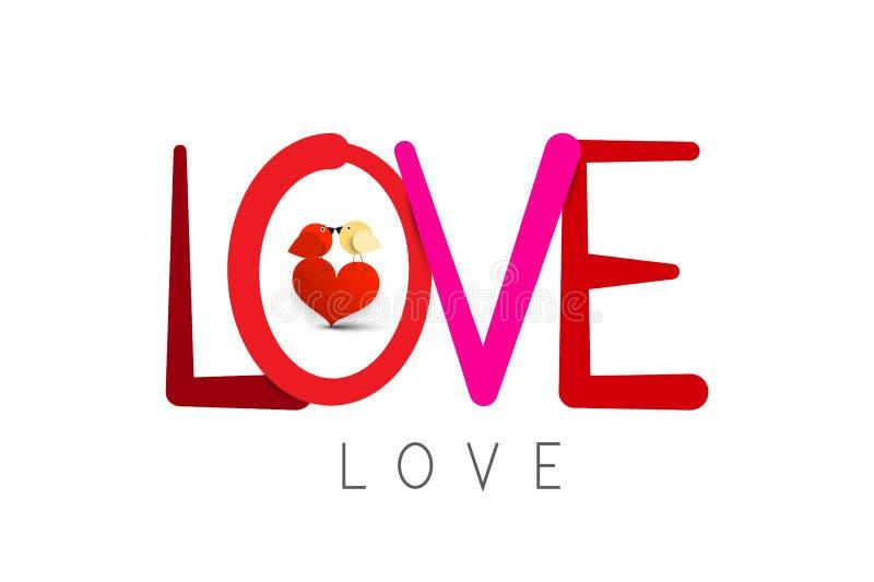 Liefdesymbool met het Kussen Vogels Valentine Card Design stock illustratie