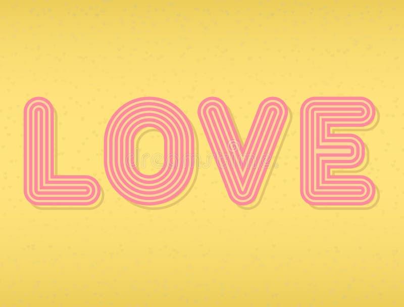 Liefdetekst op gouden uitstekende achtergrond wordt geïsoleerd die Retro typografiedoopvont Liefdeaffiche met hand het van letter royalty-vrije illustratie
