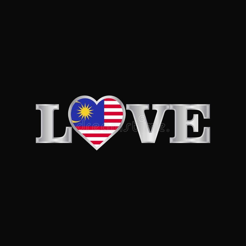 Liefdetypografie met de vector van het de vlagontwerp van Maleisië stock illustratie