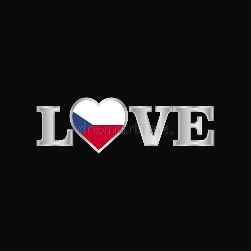Liefdetypografie met de vector van het de vlagontwerp van de Tsjechische Republiek royalty-vrije illustratie