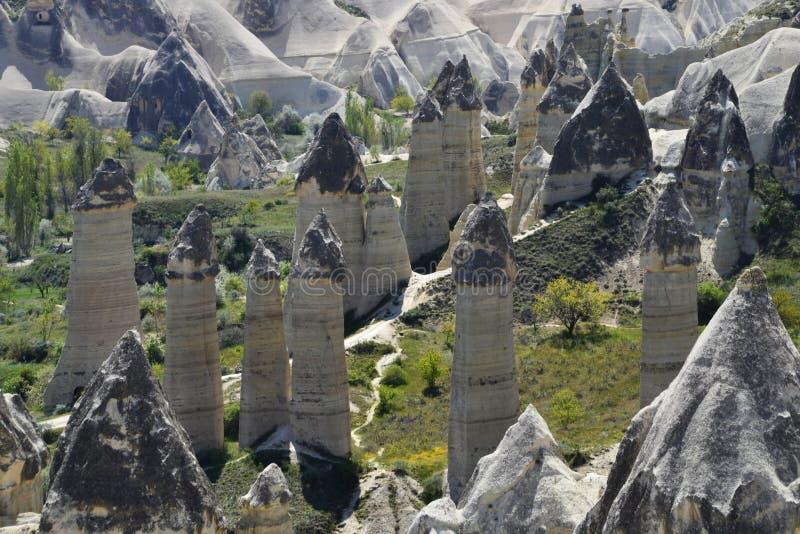 Liefdevallei in Cappadocia, Goreme, Turkije royalty-vrije stock foto