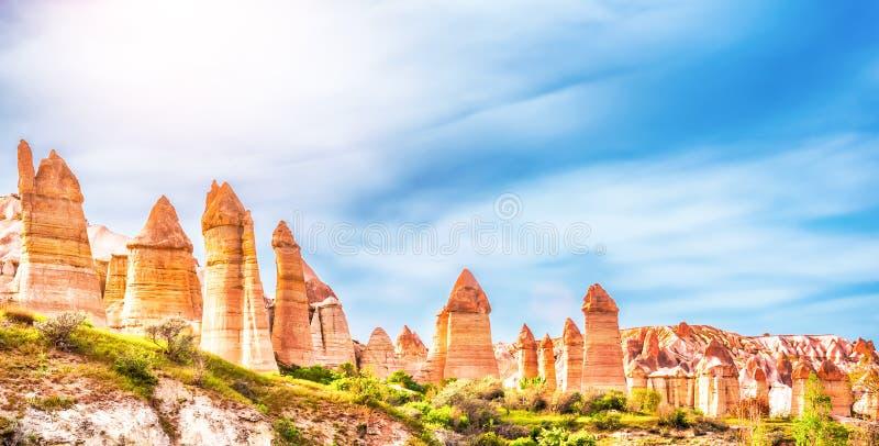 Liefdevallei in Goreme, Cappadocia, Turkije royalty-vrije stock fotografie