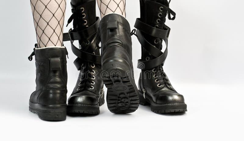 Liefdeverhaal door laarzen wordt verteld die stock afbeelding