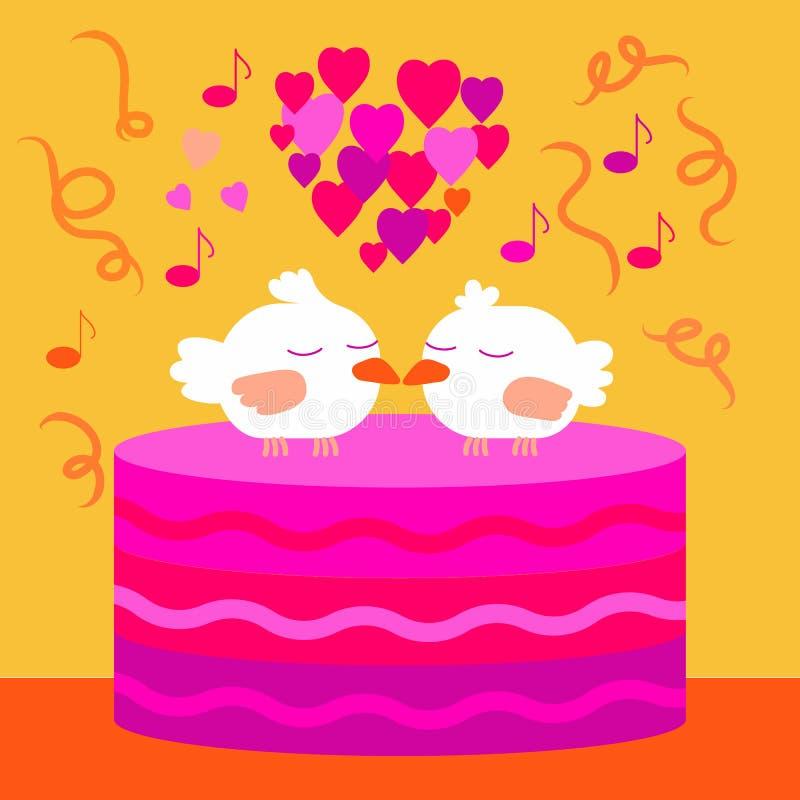 Liefdevogels, gelukkige het conceptenillustratie van de huwelijksdag royalty-vrije illustratie